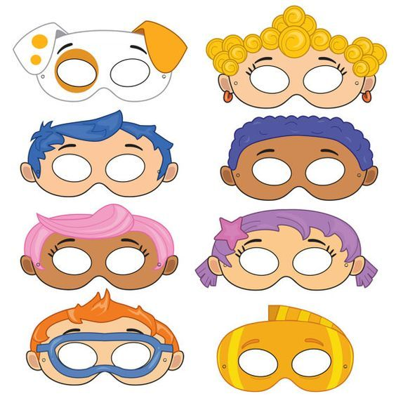 Mermaid printable masks fish mask kids party masks for Bubble guppies fish