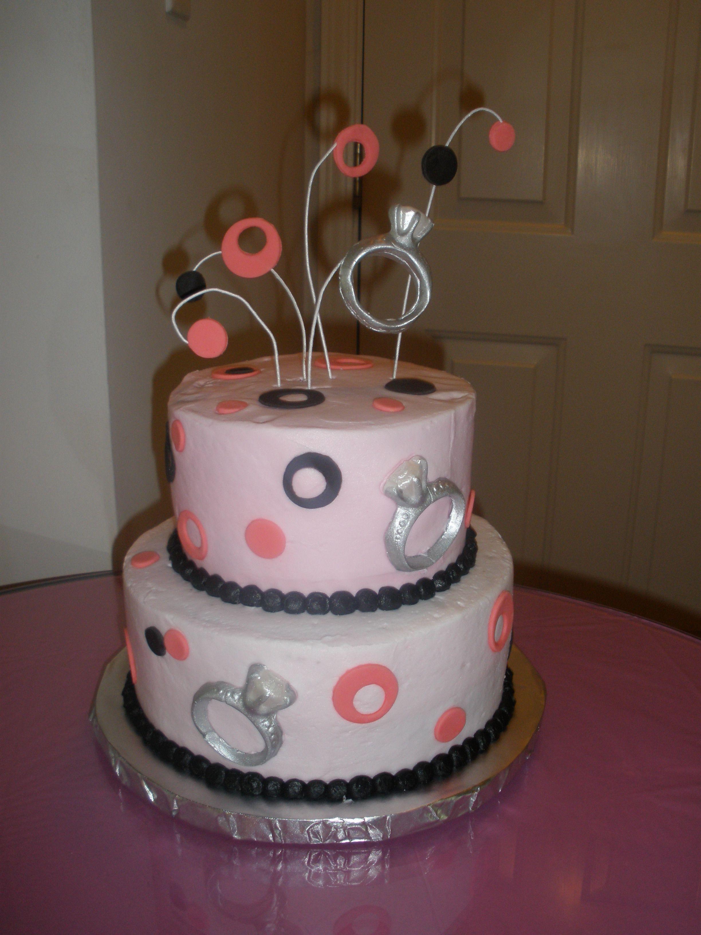 Pink & Black Wedding Ring Shower Cake