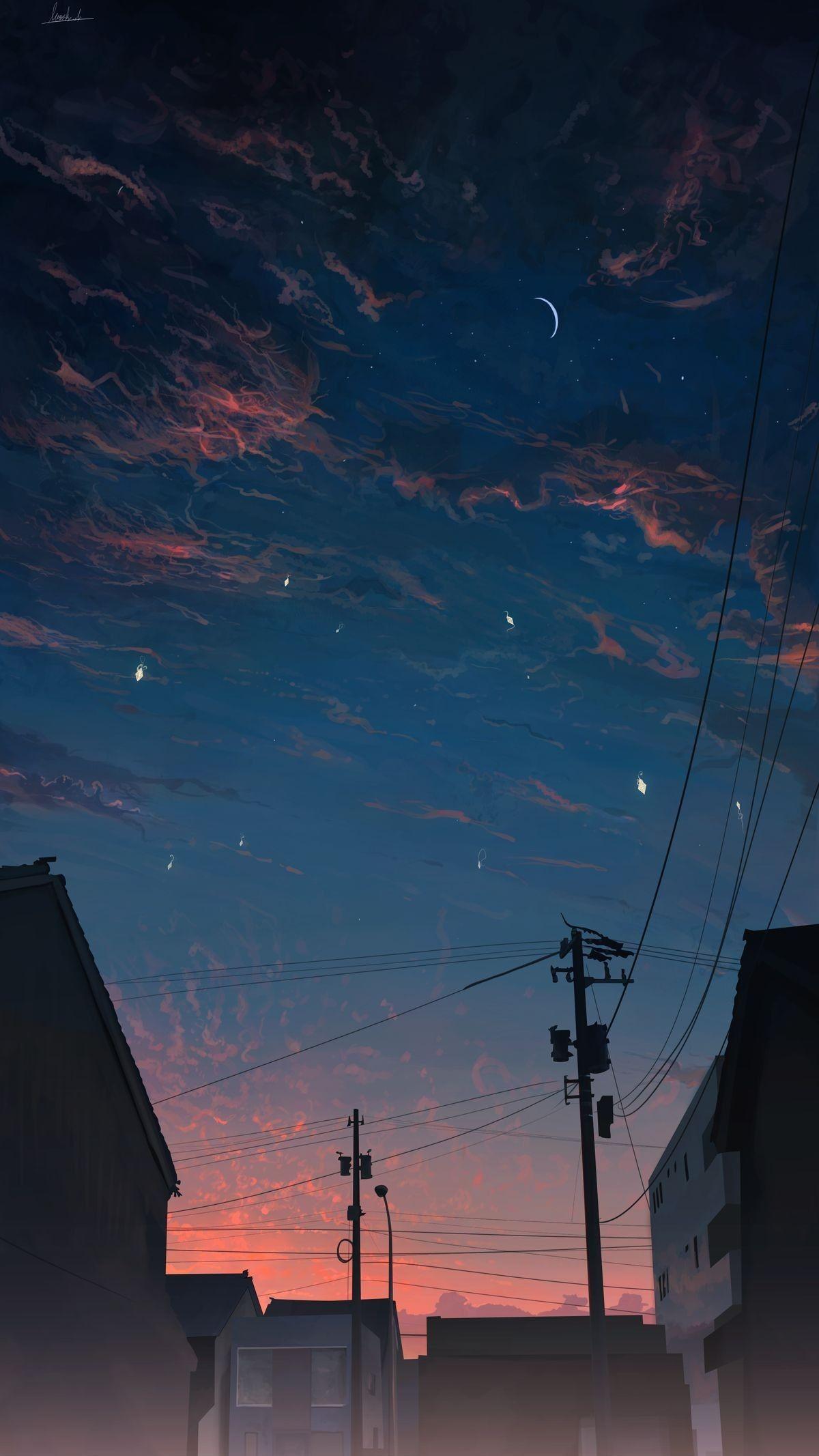 Anime Sky Wallpapers View Sunset Backgrounds Kurdishotaku Pemandangan Anime Pemandangan Khayalan Fotografi Alam Aesthetic anime clouds wallpaper