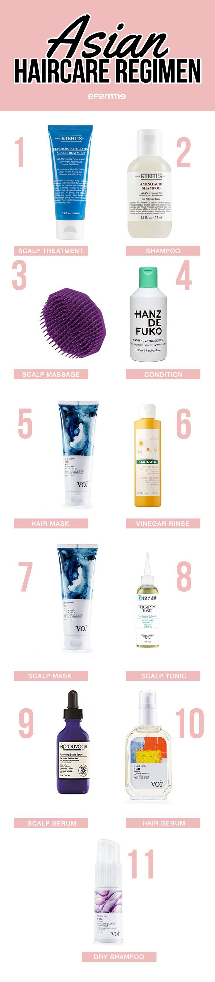 Asian Hair Care Regimen 1 - Scalp Treatment (x1 Week) 2 - Shampoo 3 - Scalp Massage 4 - Condition 5 - Hair Mask (x1 Week) 6 - Vinegar Rinse (x1 Week) 7 - Scalp Mask (x1 Week) 8 - Scalp Tonic 9 - Scalp Serum 10 - Hair Serum 11 - Dry Shampoo (+Day Old Hair) #hair #haircare #korean #regimen #routine #beauty #hairtips #howto #blog #blogger #hairstyle