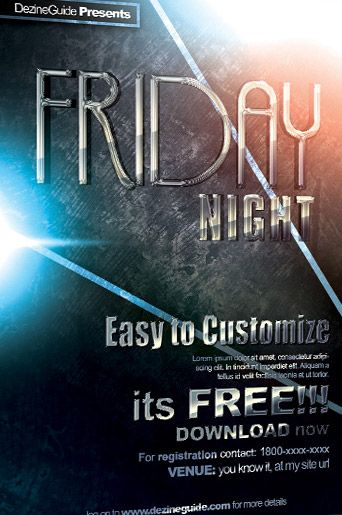Free Friday Night Flyer and Poster PSD Template - http\/\/www - harmony flyer template