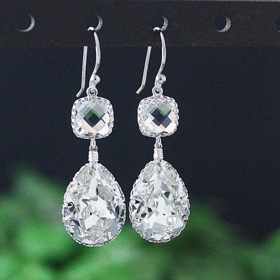 Crystal Clear Swarovski Crystal STERLING SILVER by earringsnation