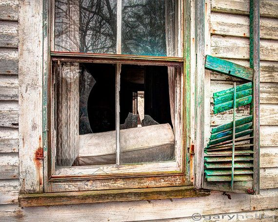 Broken Window And Shutter Abandoned House Old Rustic