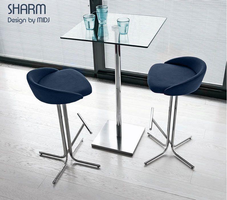 table haute sharm 65 x 65 h 110cm acier inox et verre design by midj equipements h tels. Black Bedroom Furniture Sets. Home Design Ideas