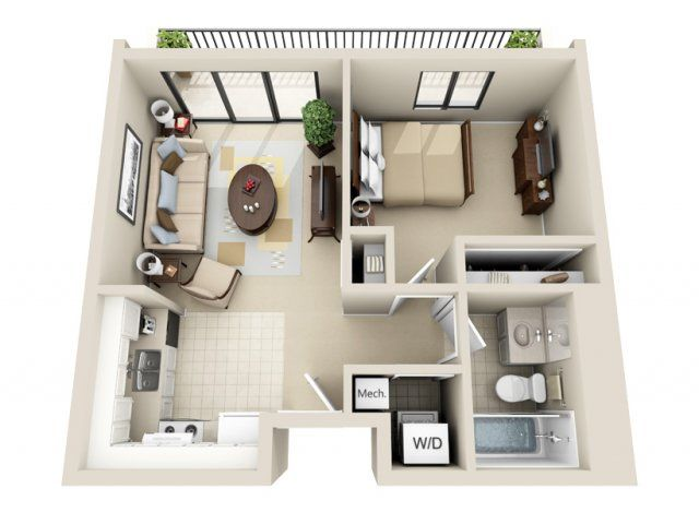 One Bedroom Efficiency Apartment Plans studio apartment plan - google search | future house | pinterest