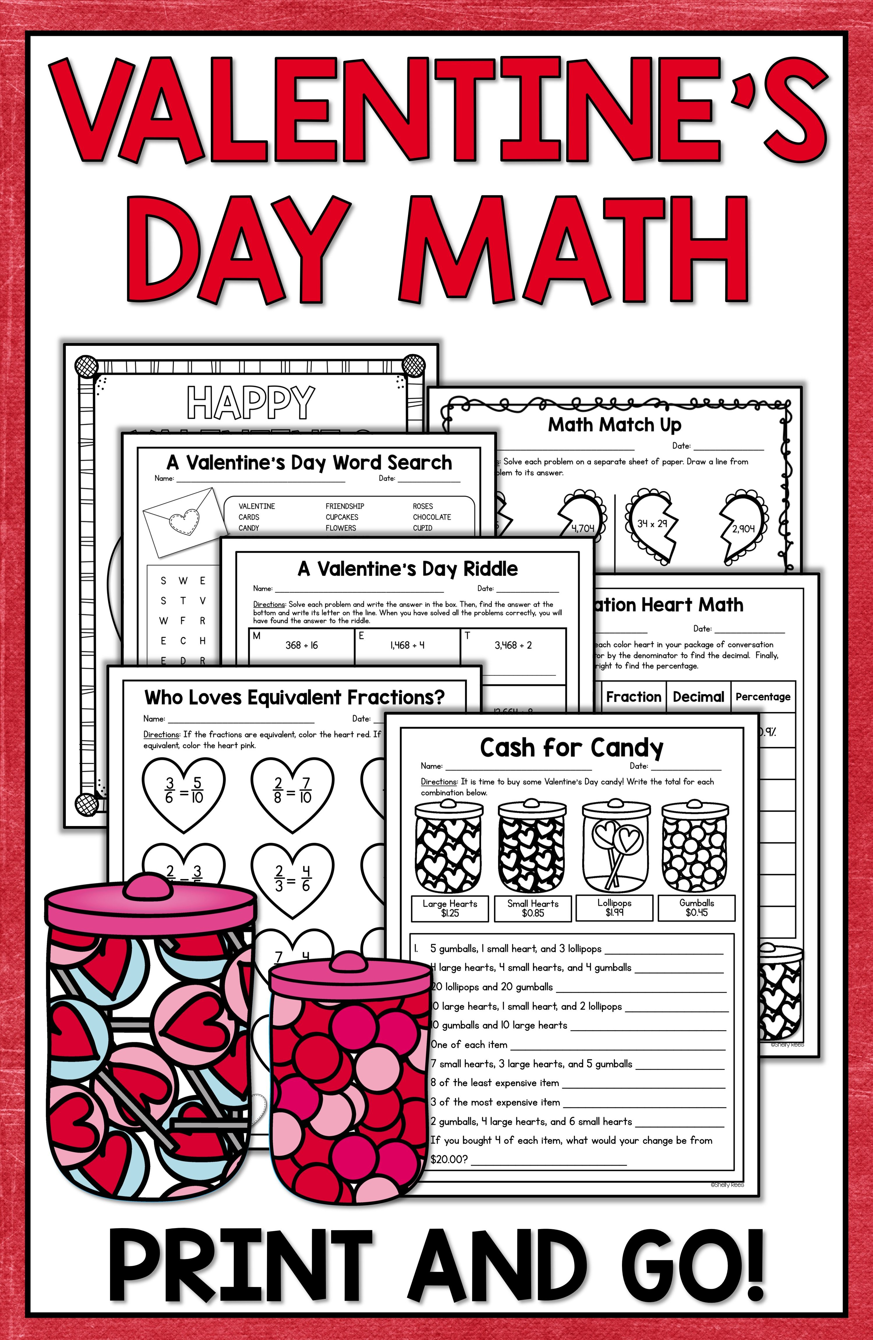 hight resolution of Valentine's Day Math - Valentine's Day Activities   Math valentines