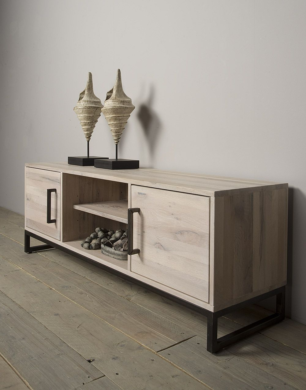 Tv Meubel Licht Eikenhout.Lodge Tv Meubel Eikenhout Met Staal 150 Cm Furniture Decor