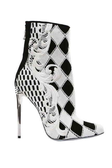 Balmain: Checkered Guipure Booties Sandals  Black and white checkered guipure booties with embroidered flair.