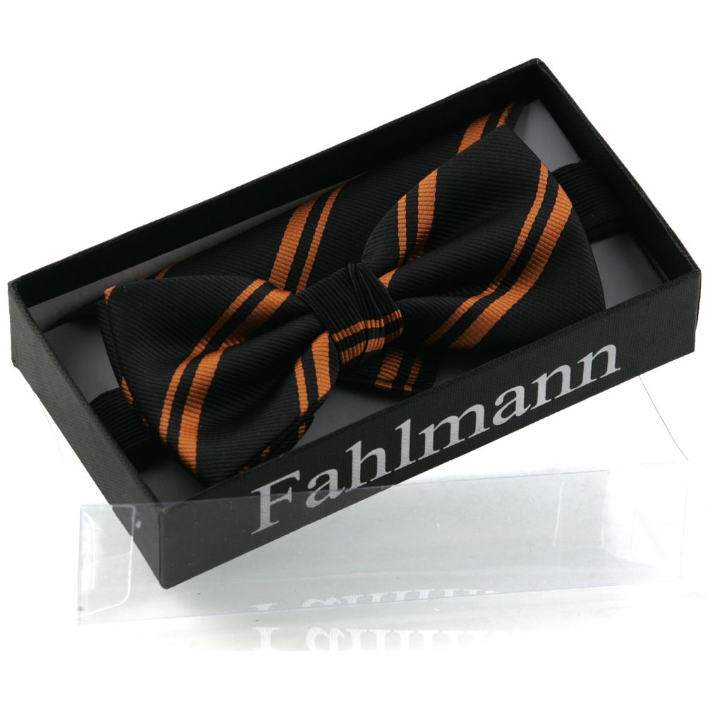 Black Bowtie with Orange Stribes.  - By Fahlmann - Denmark  Visit our website: http://fahlmann.com/