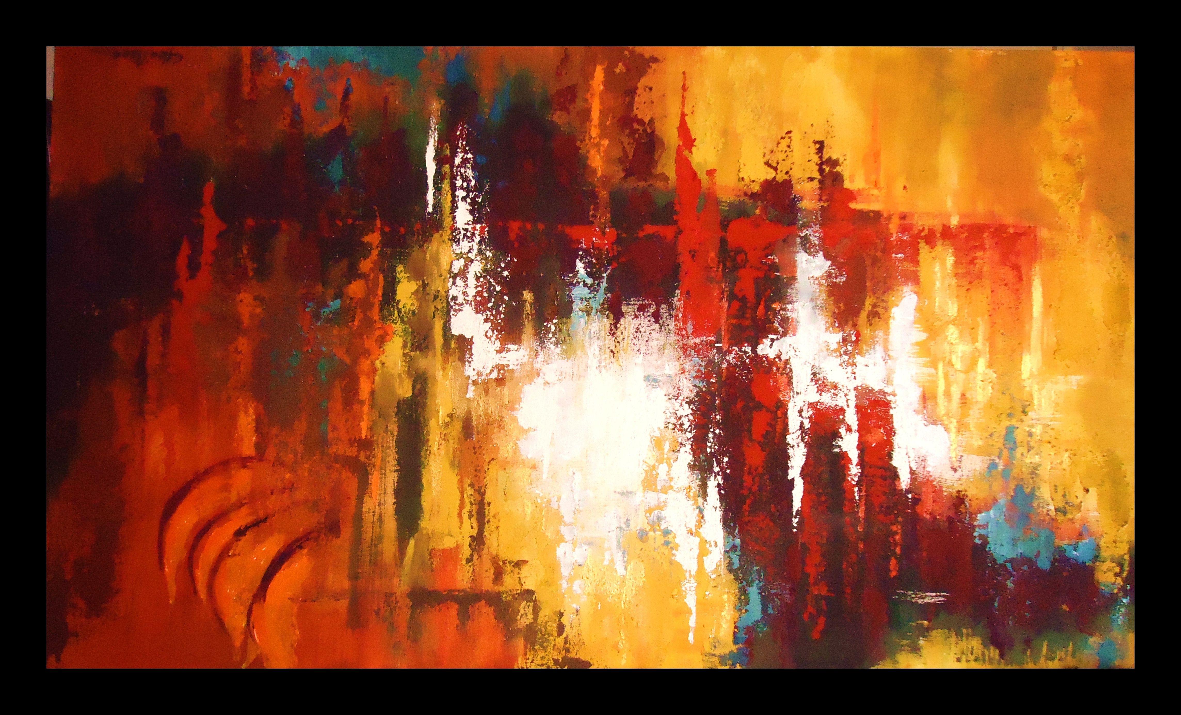 Reflejos pintura abstracta al leo con textura obra de for Imagenes de cuadros abstractos con texturas