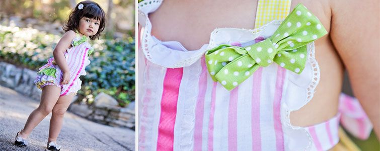 Runaway Pony vintage inspired baby sunsuit. Sugar and Milk in Candy pink-and-white stripes with bows and laces.