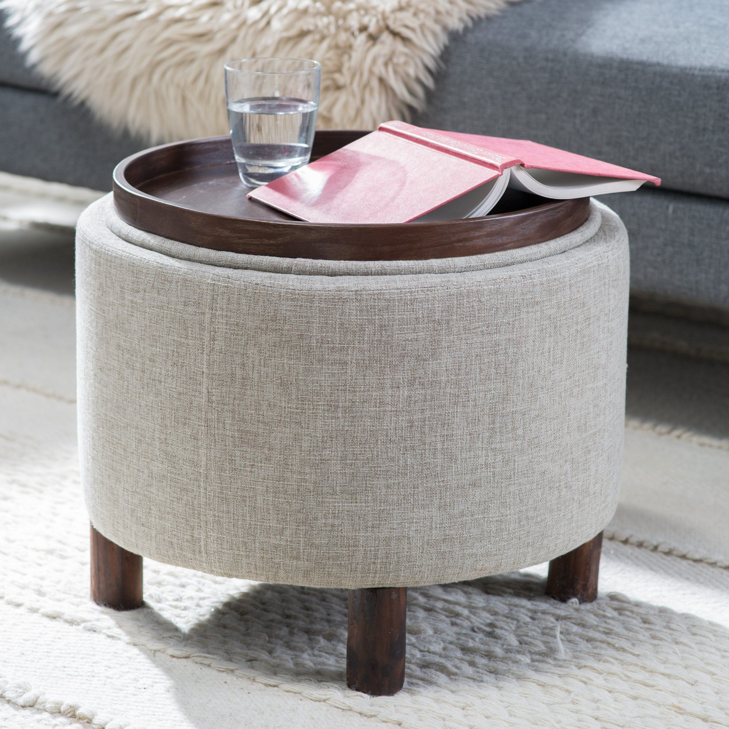 Belham Living Ingram Round Storage Ottoman With Tail Tray Ottomans At Hayneedle