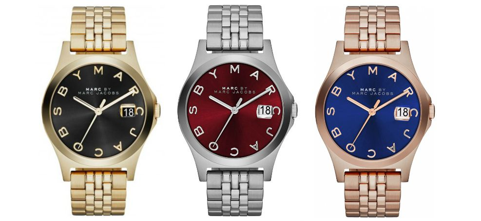 "In beautiful jewelled tones and retro-inspired bands, the Marc by Marc Jacobs ""The Slim"" is a  Fall watch favorite!"
