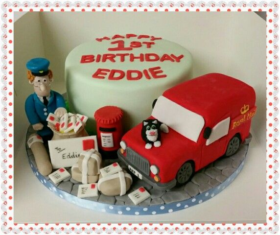 Postman Pat cake. With rice crispy treat van.  Www.thepurplewhisk.co.uk