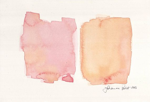 Abstract Watercolor Painting Pink And Orange Blocks Colorful