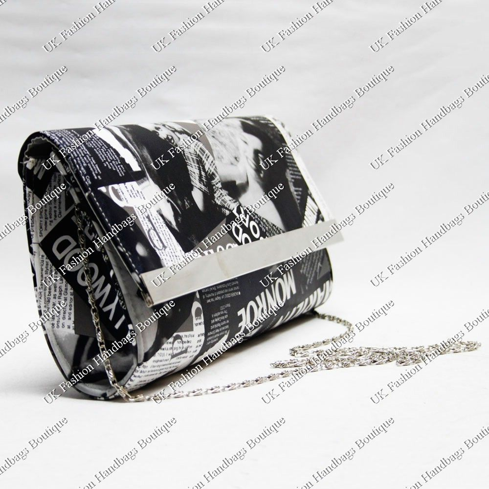 beed8446821b Details about BLACK WHITE MARILYN MONROE NEWSPAPER MAGAZINE CLUTCH ...