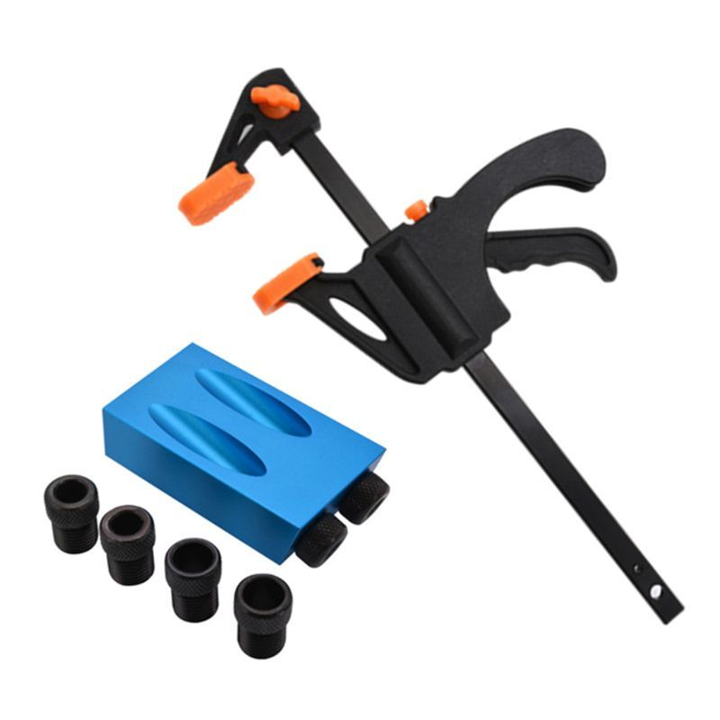 Pocket Hole Jig Kit 15° Angle 6//8//10mm Adapter Drill Guide Woodworking Adapter