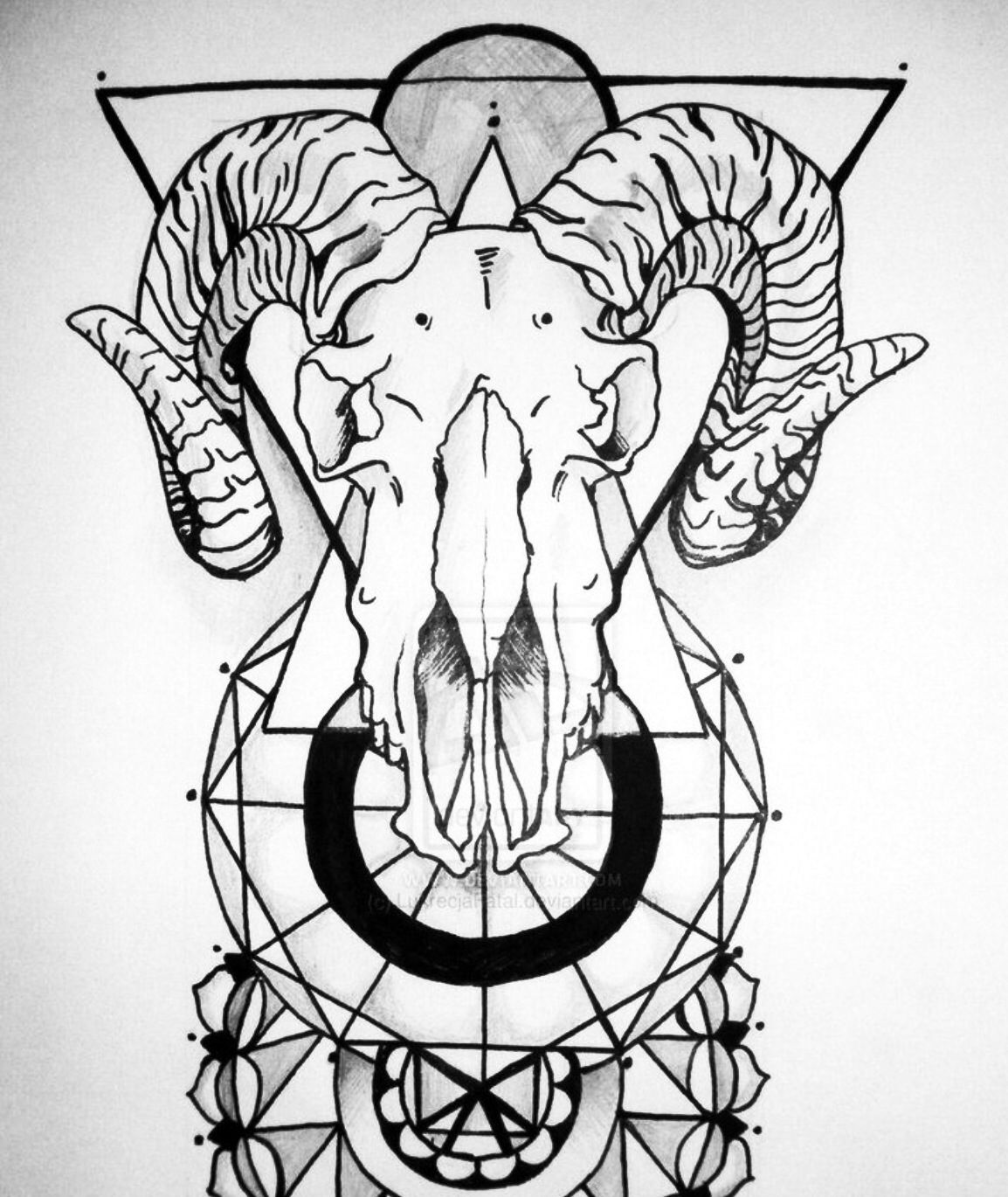 5270001bb Aries Ram Geometric Mandala tattoo | : My Canvas : | Skull tattoo ...