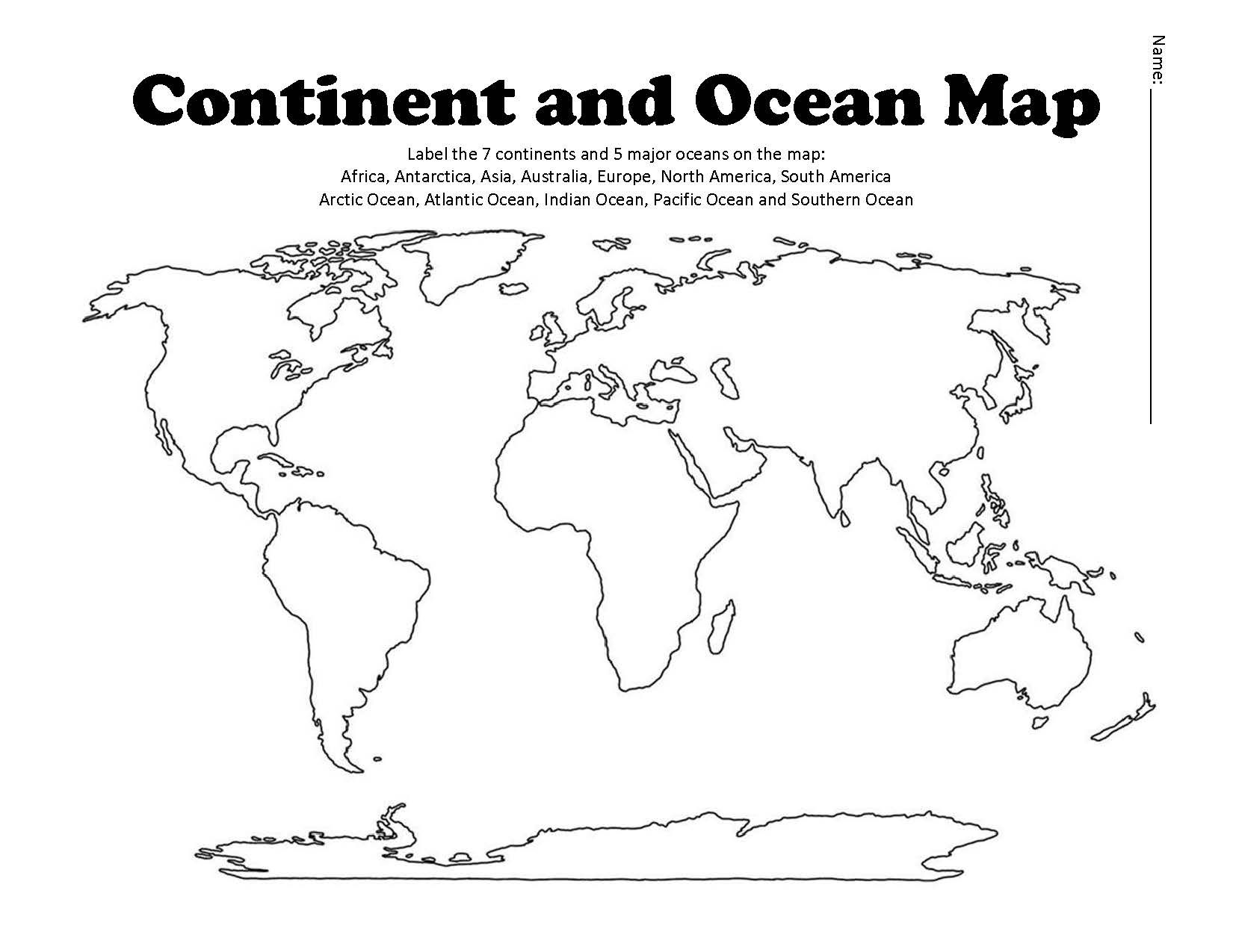 Continent And Ocean Map Worksheet Blank Continents Oceans Map