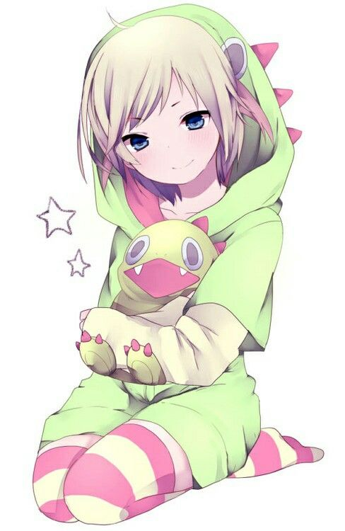 Anime Manga Girl In Her Dino Jacket And Dino Plushie This