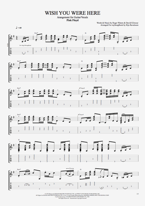 Wish You Were Here - Pink Floyd tablature | PINK FLOYD | Pinterest ...