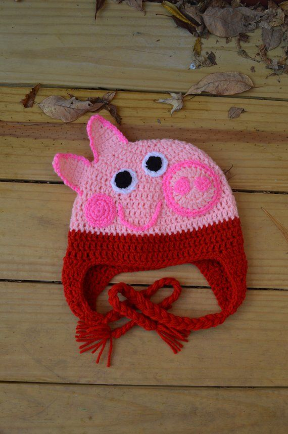 Peppa Pig Crochet Hat   Products   Crochet hats, Crochet, Crochet baby ae98fcb5491
