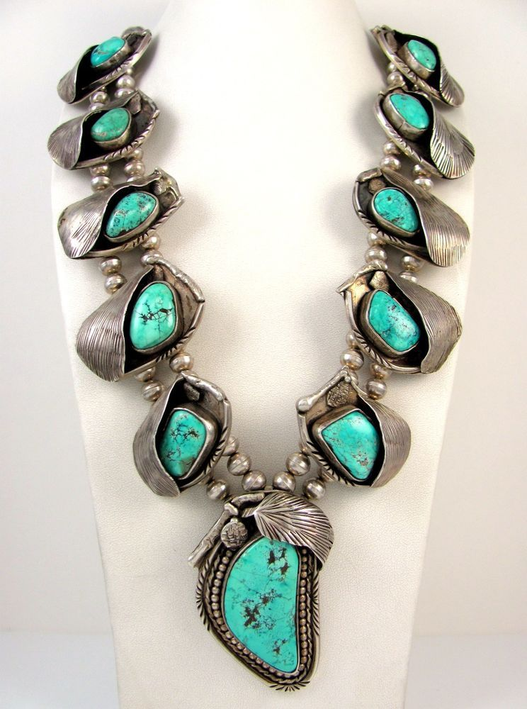 MASSIVE Vtg Handmade Navajo Sterling Silver Turquoise Squash Blossom Necklace J