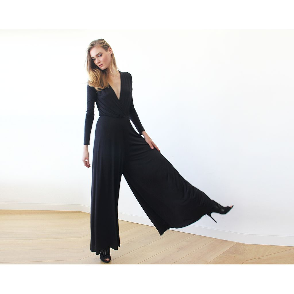 Long sleeves black jumpsuit with wide pants products pinterest
