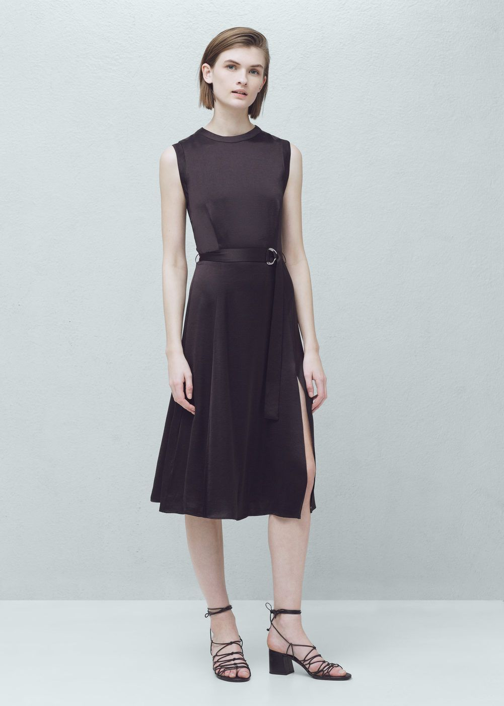 Belt satin dress - Woman