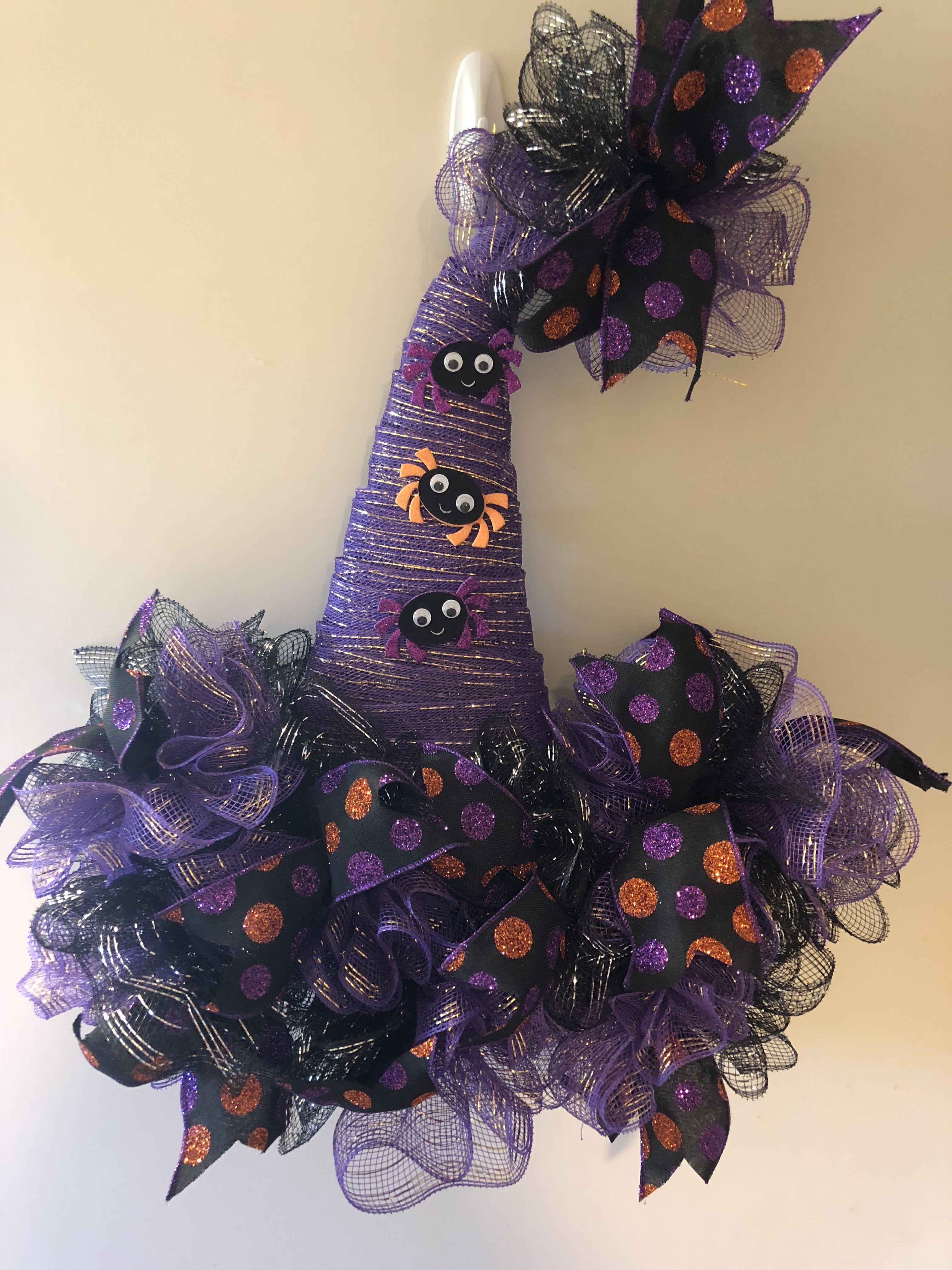 Purple Halloween Witch Hat Deco Mesh Christmas Wreaths Diy Halloween Wreath Halloween Mesh Wreaths