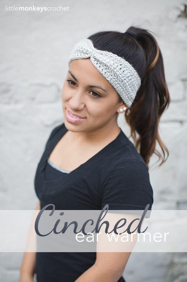 Cinched Ear Warmer   Free Ear Warmer Headband Crochet Pattern by ...