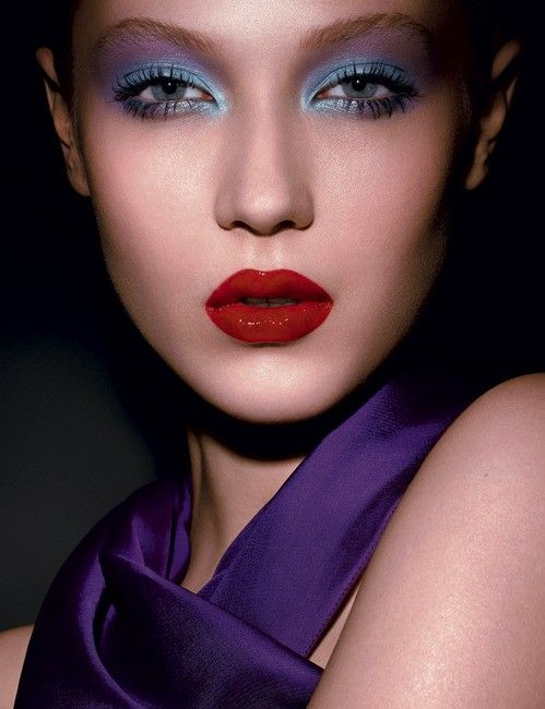 Pink Lipstick Blue Eyeshadow Gorgeous Makeup Look With Glamorous