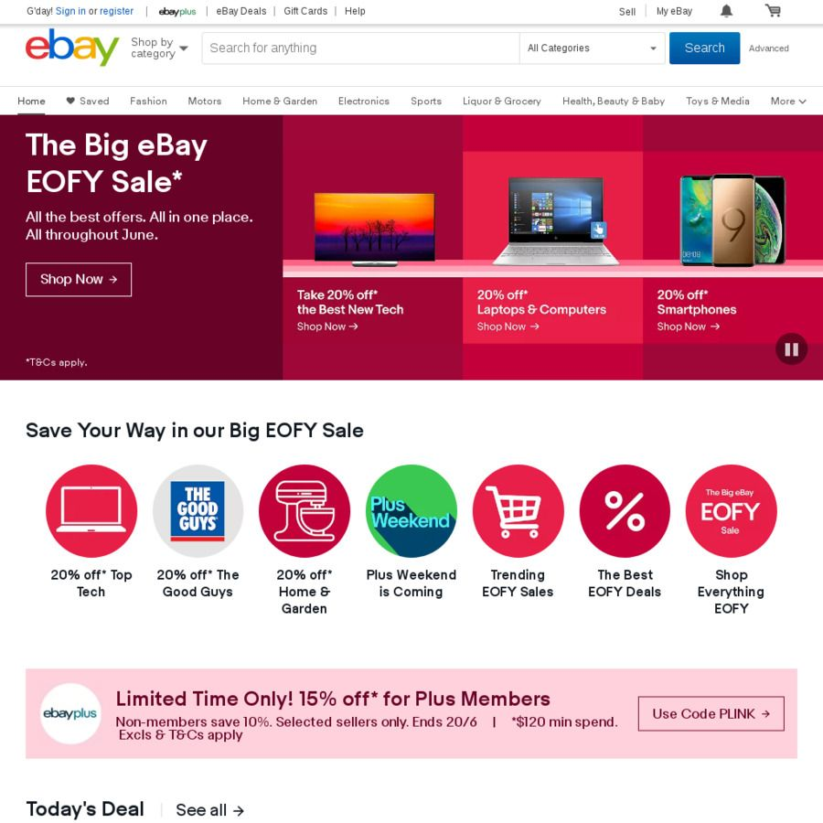 15 Off Eligible Items On Ebay For Ebay Plus Members 10 Off For Non Members Min Spend 120 Max Discount 200 Ebay Ebay Ebay Search My Ebay
