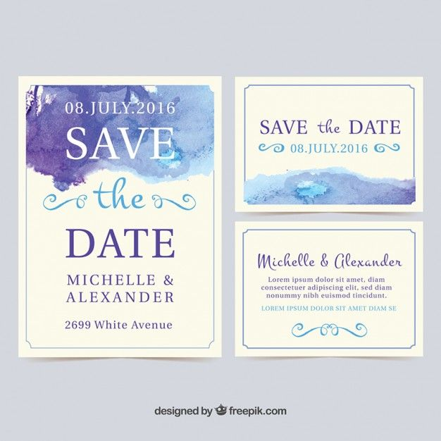 Do Your Own Wedding Invitations: Watercolor Wedding Invitation Cards Free Vector