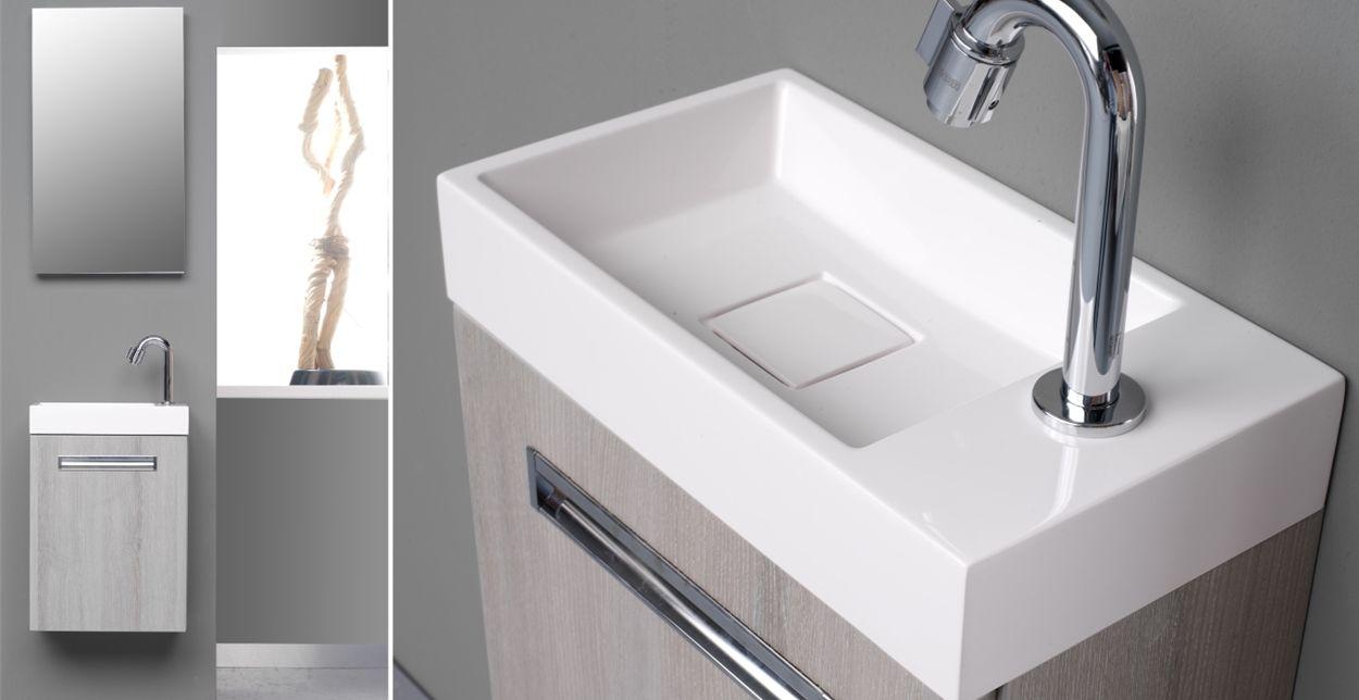 Toiletmeubel met wastafel en spiegel global van thebalux