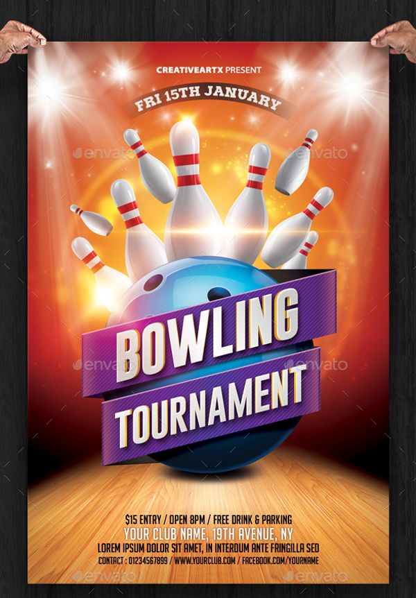 Bowling-Tournament-Flyer-Templatejpg (600×862) Bowling - bowling flyer template