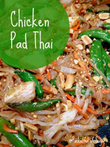 Easy Chicken Pad Thai Recipe - Pocketful of Sugar.   Also has recipe for homemade avocado egg rolls. :D