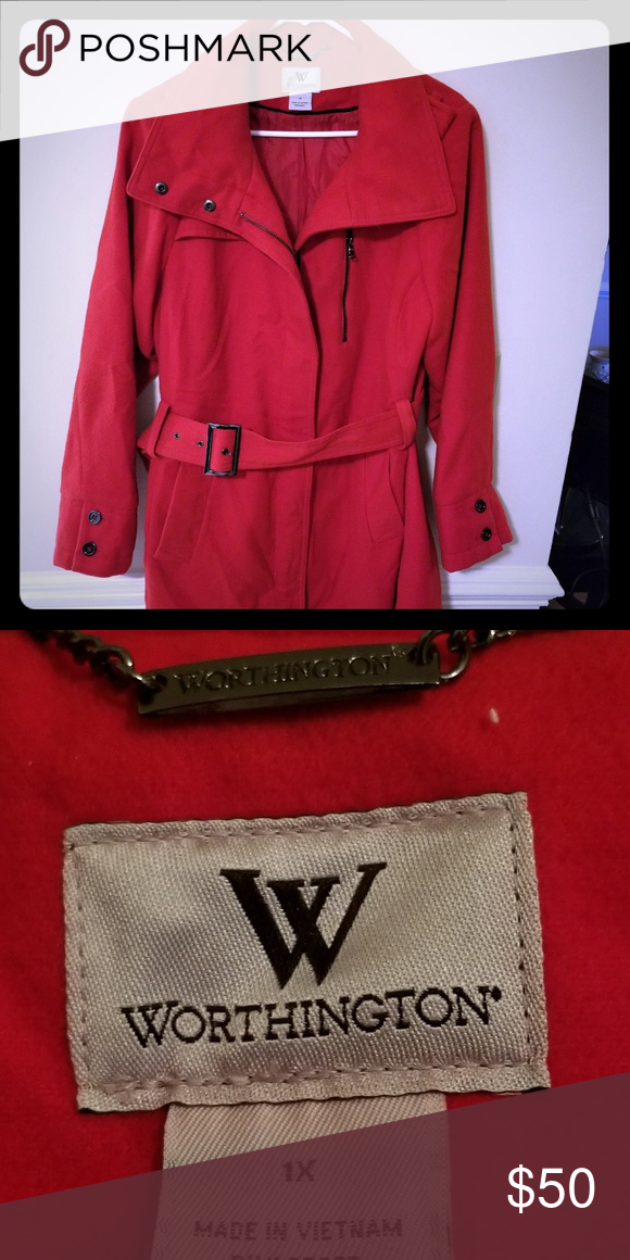 b8d63adb607 Ladies 1x Worthington long red pea coat Winter wool peacoat worn a few  times. Like new condition Worthington Jackets   Coats Pea Coats