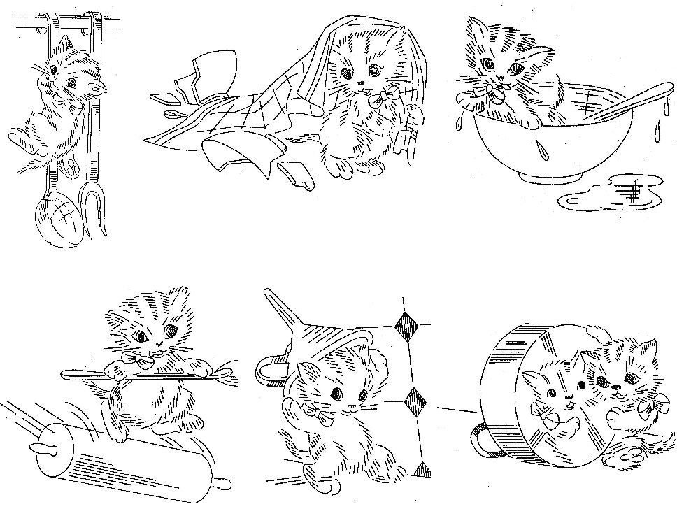 Vintage Hand Embroidery PATTERN Design 976 Playful Kittens for Dish ...