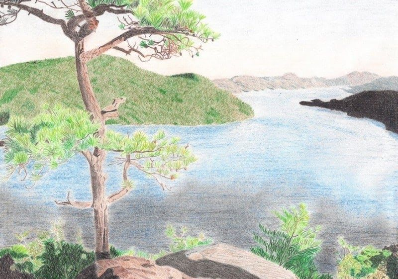 Wow 30 Lukisan Pemandangan Alam Tanpa Warna 50 Lukisan