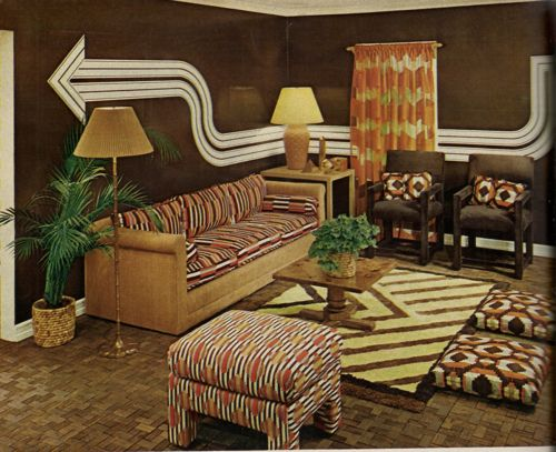 Living room design from House & Garden's Complete Guide to Interior  Decoration, 1970. Description
