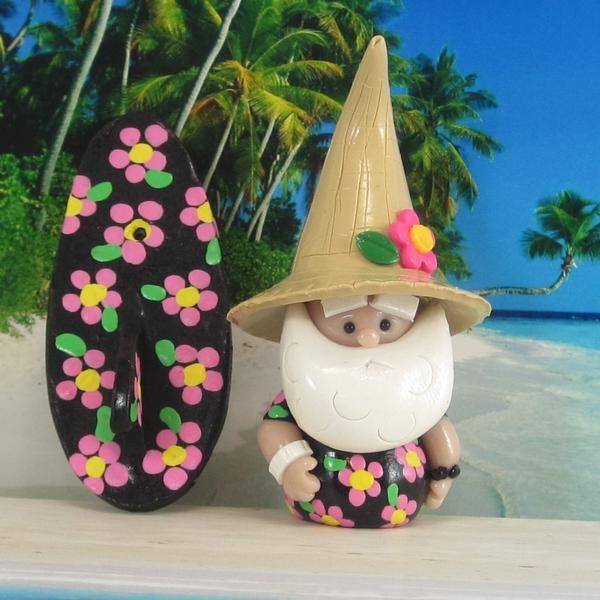Beach Comber Gnome for Tropical Island Fairy Garden OOAK with surfboard, handmade