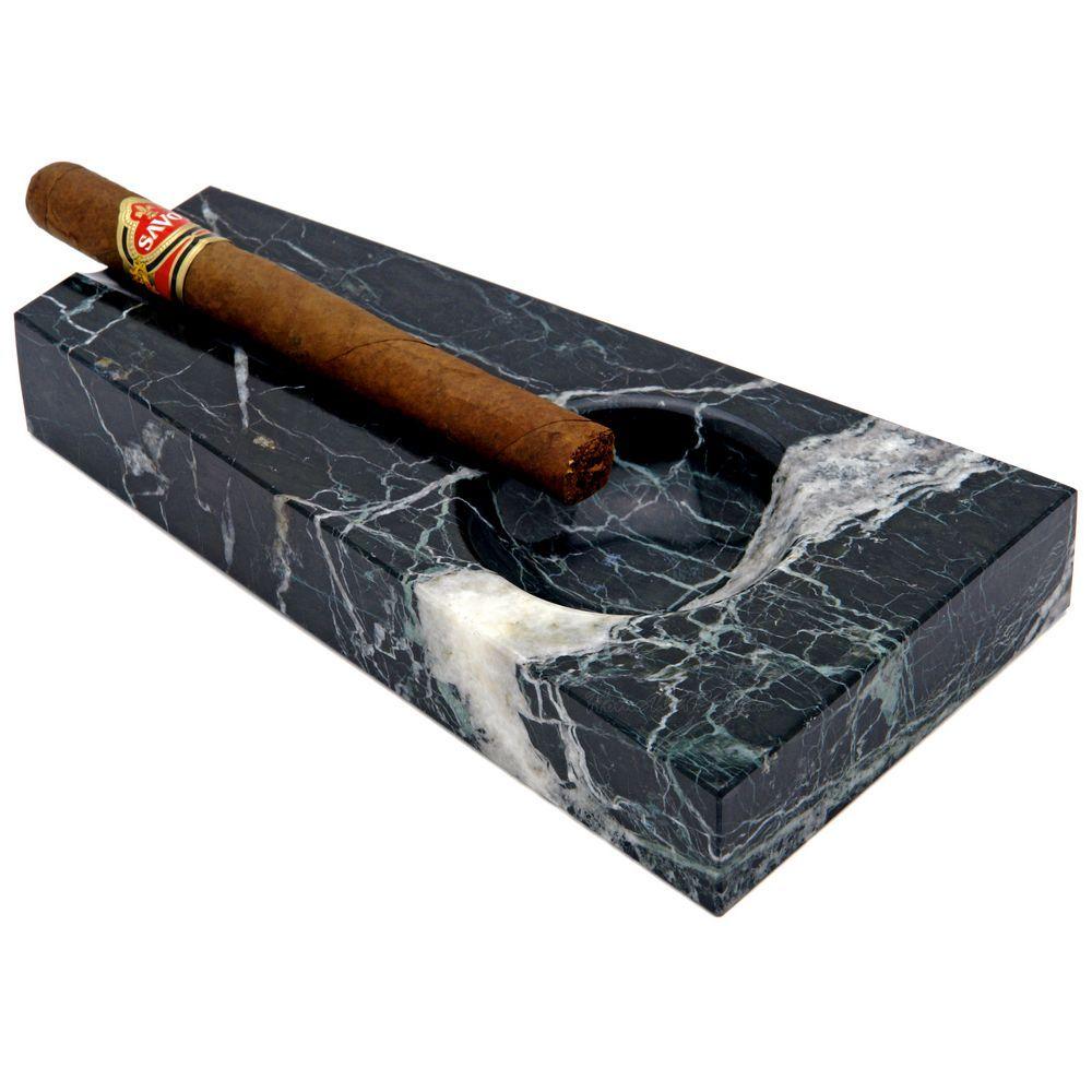 Elongated Black Marble Cigar Ashtray