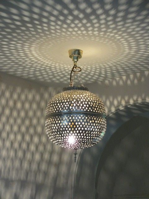 Large Moroccan Silver Ball Light Shade Style