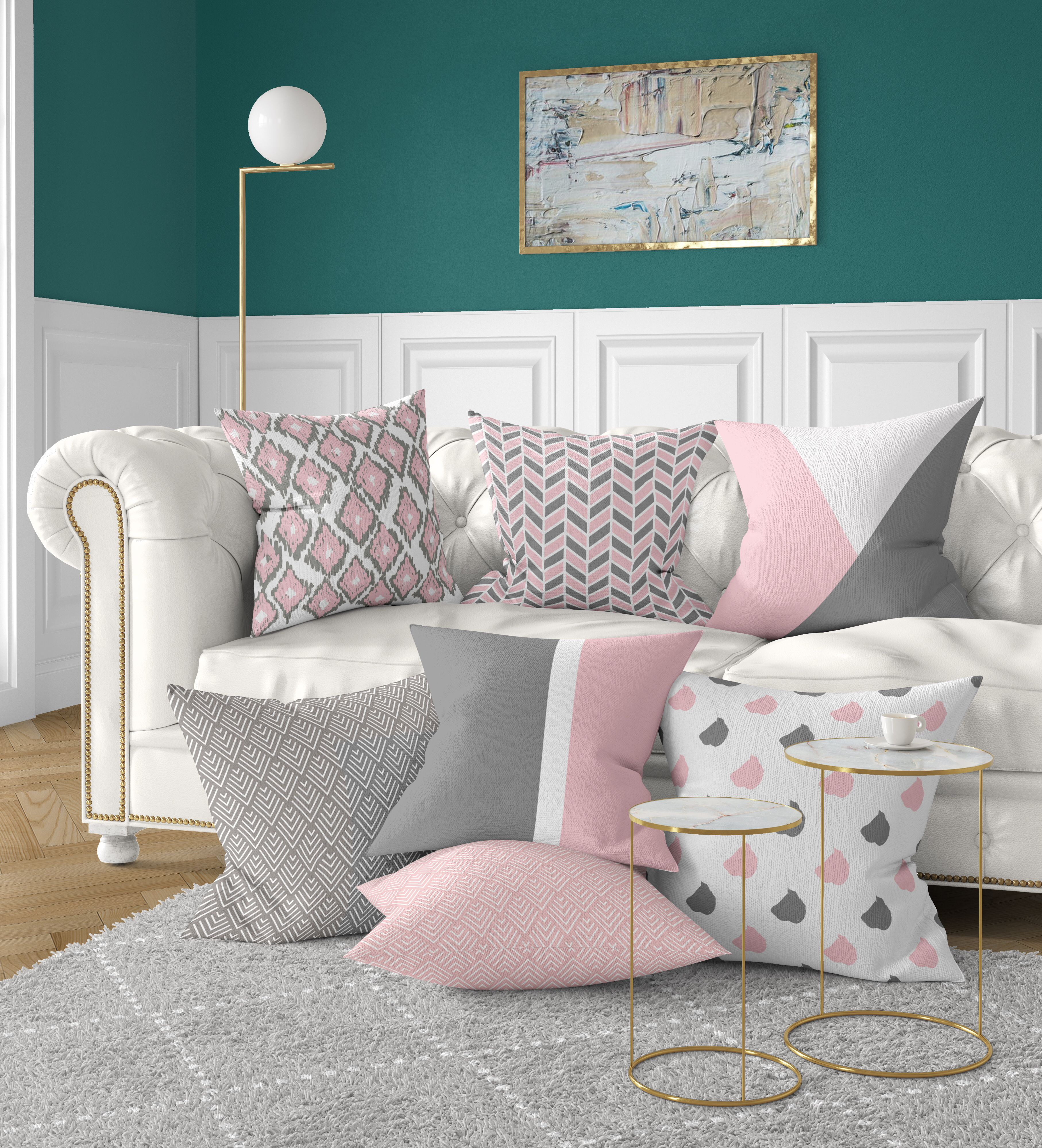 Mix and match pillow with our millennial pink and gray throw