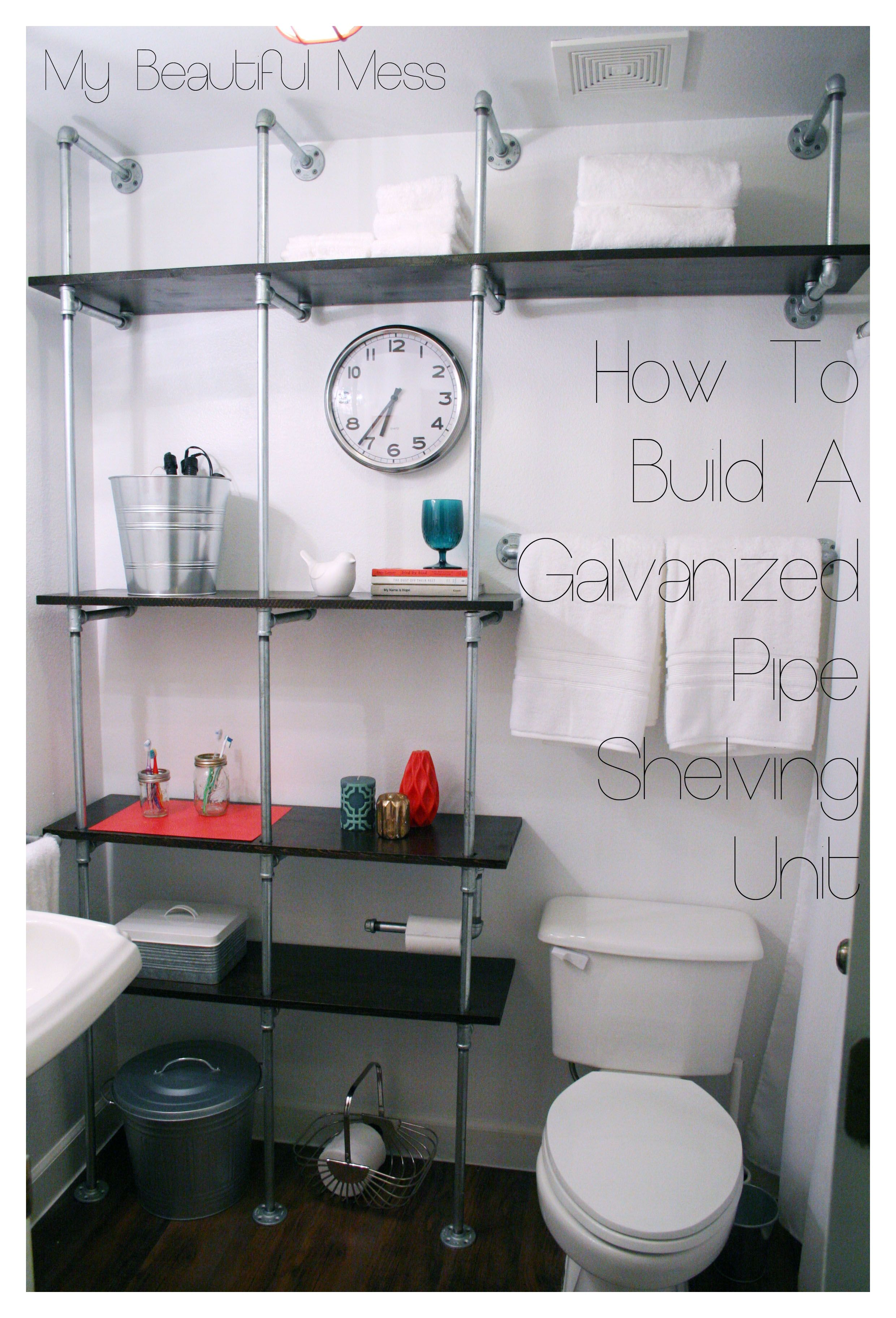 Love these DIY pipe shelves for a boys room or even a mud room for ...