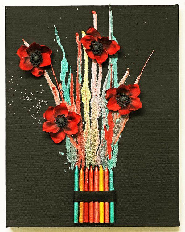 Melted Crayon Bouquet...  Ramo de Crayolas Derretidas...