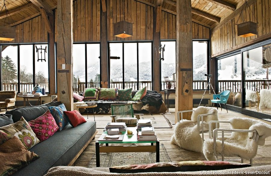 un chalet de montagne l 39 esprit r cup 39 et nomade. Black Bedroom Furniture Sets. Home Design Ideas