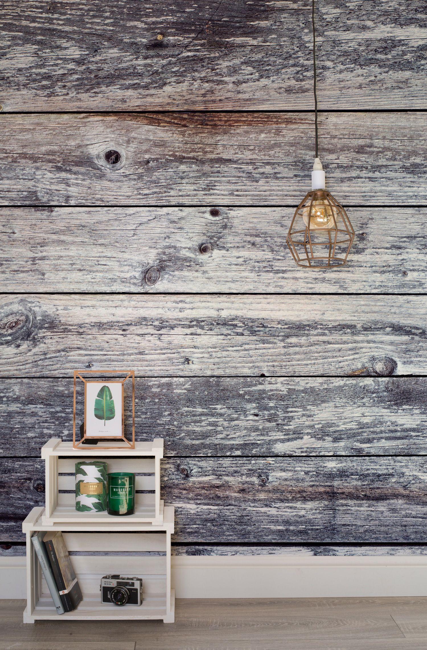 Aged Grey Planks Wall Mural MuralsWallpaper.co.uk