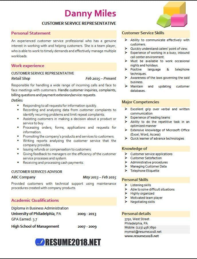 2018 Customer Service Customer service resume examples